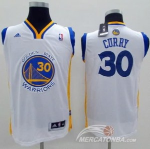 Maglie Bambini Curry Golden State Warriors Bianco