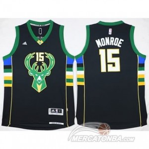 Canotte Basket Monroe Milwaukee Bucks Nero