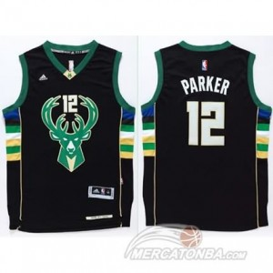 Canotte Basket Parker Milwaukee Bucks Nero