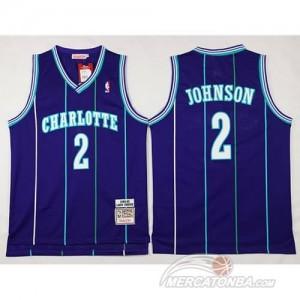 Canotte Basket Retro Charlotte Johnson New Orleans Hornets Porpora