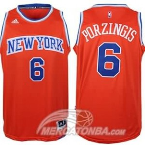 Maglie Basket Porzingis New York Knicks Arancione