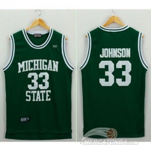 Canotte Basket NCAA Michigan State Johnson Verde