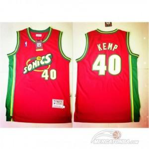 Maglie Basket retro Kemp Seattle Sonics Rosso