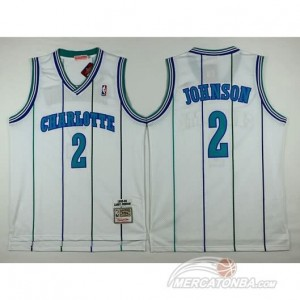 Canotte Basket Retro Johnson Charlotte New Orleans Hornets Bianco