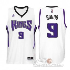 Maglie Basket Rondo Sacramento Kings Bianco