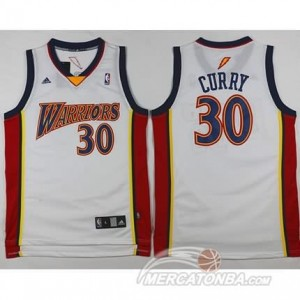 Maglie Basket Retro Curry Golden State Warriors Bianco